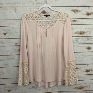 Cable & Gauge Lace Detail Bell Lace Sleeves Top M